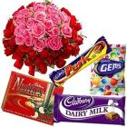 Silky Cadburys Chocs Dessert and 50 Pink and Red Roses Collection