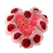 Rich Grains of Long Lasting 18 Red and Pink Roses in Heart Frame