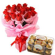 Long Lasting – Red Roses Bouquet with  Ferrero Rocher Box
