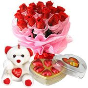 Heavenly Bouquet of Red Roses with a Teddy and Chocolate Box