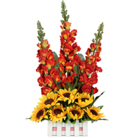 Array of Breathtaking Long Flower Stems with Dazzling Sunflowers placed in a Basket