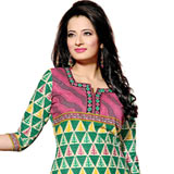 Attractive Pure Cotton Printed Salwar Suit in Green and Pink