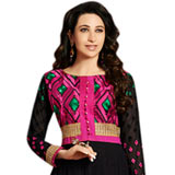 Fascinating Embroidered Anarkali Salwar Kameez in Black and Pink