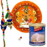 Graceful Rakhi, Pooja Thali With Bikano Rasgulla