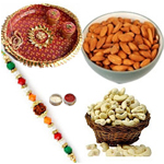 The Beautiful & Captivating Rakhi With Pooja Thali, Cashew And Almond