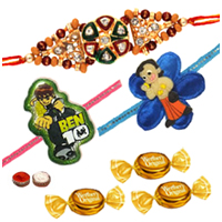 Alluring Bhaiya Rakhi With Kid Rakhis