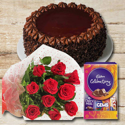 Everlasting Memory Flower, Cake and Chocolate Assortment