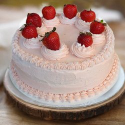 Silky Smooth 1 Lb Strawberry Cake from 3/4 Star Bakery to Sidihoskote