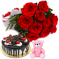 Tasty Black Forest Cake with Red Roses Bunch & Small Teddy Hamper