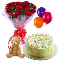Bright Red Color Roses Bunch with Vanilla  Cake, Ballons & Small Teddy
