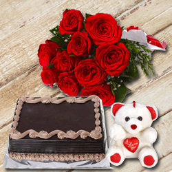 Bright Red Roses Hand Bunch with Choocolate Cake & Small Teddy