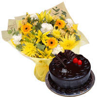 Brilliant Mixed Flower Hand Bunch with Chocos Truffle Cake