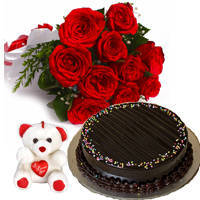 Bright Red Roses Hand Bunch with Choco Truffle Cake & Small Teddy