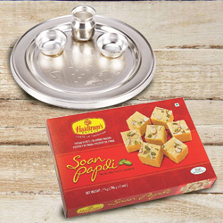 Mouth-Watering Haldiram's Soan Papdi and Silver Plated Puja Thali of 5-6 inch