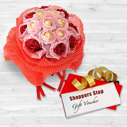 Splendid Gift of Shoppers Stop Gift Voucher worth Rs.1000, 8 Pc. Ferrero Rocher Bouquet and Red Roses