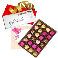 Mind Blowing Gift of Shoppers Stop Gift Coupon worth Rs.1000 and 24 Pcs. Home made Assorted Chocolate Gift Set