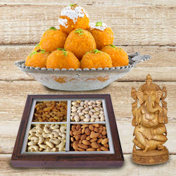 Lovely Sandalwood Ganesha and 250 gms. each of Dry Fruits and Haldiram's Ladoo