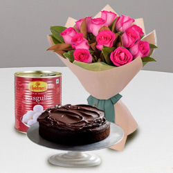 Luxurious 12 Red Roses and Haldiram Rasgulla with 1 Kg Eggless Cake