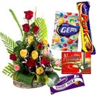 Graceful mixed lovely Roses clubbed with delicious assorted Cadburys Chocolates