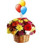 Festive Beautiful Flowers and Bright Balloons with Warm Wishes