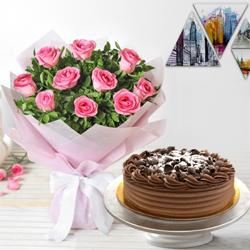 Mesmerizing 10 Pink Roses and 1/2 Kg Eggless Chocolate Cake to Peenya