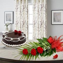Passionate 3 Red Roses with 1/2 Kg Chocolate Cake to Udupi