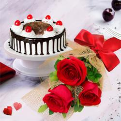 Touching 3 Red Roses with 1/2 Kg Black Forest Cake to Ganganagar