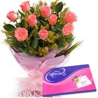Trendy Pink Roses Hand Bunch with Cadbury Assortment to Jayamahal Extn