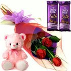 Fancy Small Teddy, Roses and Dairy Milk Silk Chocolate Bars to Aranya Bhavan