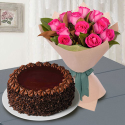 Exquisite 12 Red Roses with 1/2 Kg Chocolate Cake