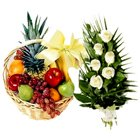Delectable Fruits Basket N Roses Bouquet