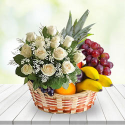Tropical Sincerest Thanks White Roses N Fruits Gift