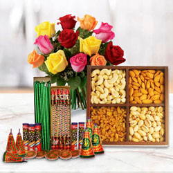 Astounding Collection of Dry Fruits, 12 Pcs Mixed Roses and Crackers