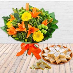 Charming Seasonal Flowers Bouquet and Kaju Barfi with Sweetness