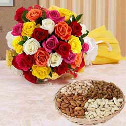 Delightful Two Dozen Splashy Roses and 1 Kg. Dried Fruits Delights