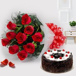 Dramatic Bunch of Red Roses with Black Forest Cake Pleasure to Jayamahal Extn
