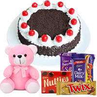 Savory 1 Lb Black Forest Cake with Assorted Cadburys Chocolate and a Small Teddy