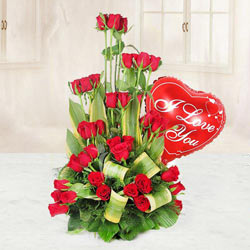 Lovely Heart Shaped Red Balloon and a Bouquet of 36 Red Roses