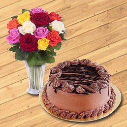 Divine Bouquet of Mixed Roses Combined with Chocolate Cake