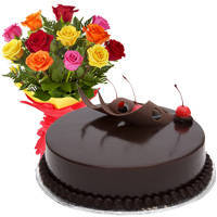 Charming 12 Mixed Roses Bunch and Chocolate Cake with Heartfelt Wishes to Circle