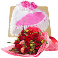 Joyful 12 Red Dutch Roses Bouquet with 1 Kg Heart Shaped Cake