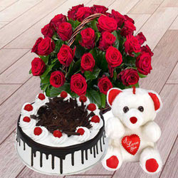 25 Red Roses with 1 Lbs. Black Forest Cake and a Teddey Bear