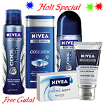 Shower Hour for Men with Nivea Gift Hamper for Men with free Gulal/Abir Pouch