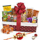 Greed's Thrill Dry Fruits Assemblage with One Rakhi and Roli Tilak Chawal