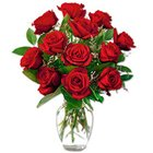 Blossoming Red Roses in a Vase with Pure Love to Chikkajala