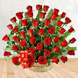 Enchanting 50 Red Roses Delight Bouquet with Love to Malkand Lines