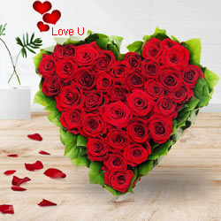 51 Exclusive <font color =#FF0000> Dutch Red </font>   Roses  in  Heart Shaped Arrangement