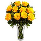 Graceful Yellow Roses in a Vase to Fraser Town PO