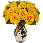 Majestic Collection of Yellow Roses in a Glass Vase