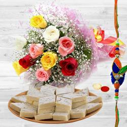 Unique You are Always Special Premium Bouquet with 250 Kaju Katli and Rakhi